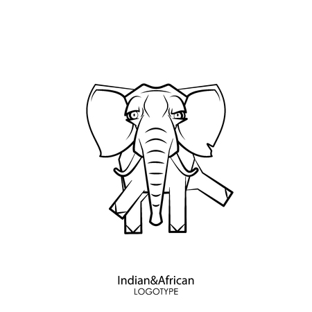 Cartoon animal character. Funny clever big elephant with tusks standing posing on a white background. Vector illustration. Indian and African inhabitant.