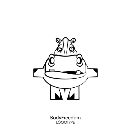 Cartoon character of an African animal. Funny cute hippo is standing in a flight pose on a white background. Vector illustration. The inhabitant of Africa and the Sahara. Flight of the body. Ilustração