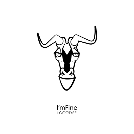 Cartoon character grimaces. The head of a funny cool antelope. Vector. Im fine! All is well!