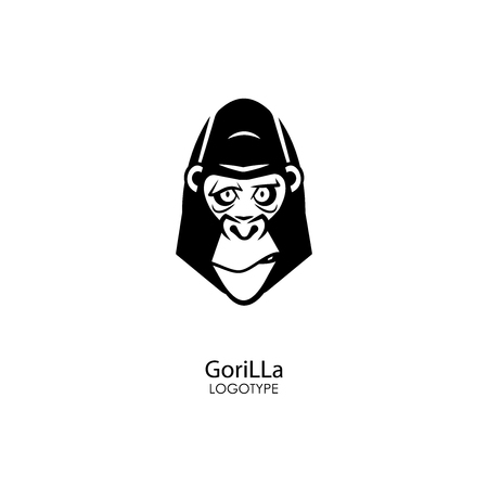 Head of a serious tough gorilla on a white background. Sticker, pattern, background, wall decoration. Vector illustration. Cartoon character of the inhabitants of the jungle. Ilustração