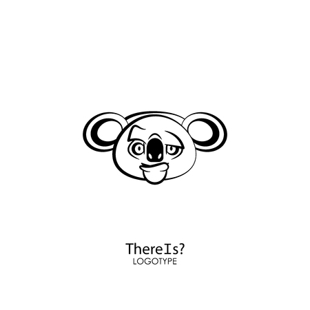 Funny cool koala head on a white background. Sticker, template, background. Vector illustration. A cartoon character of an Australian inmate thinks. There is? You think? Illustration