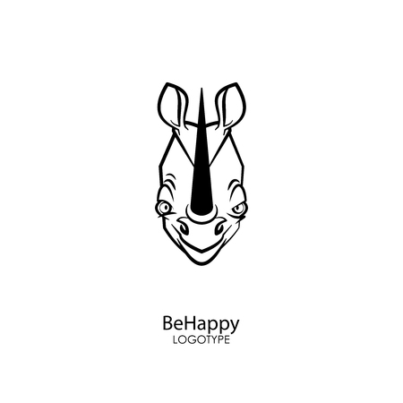 Head of a funny tough contented and happy rhino with a smile on a white background. Sticker, pattern, background, wall decoration. Vector illustration. Cartoon character of the southern inhabitant.