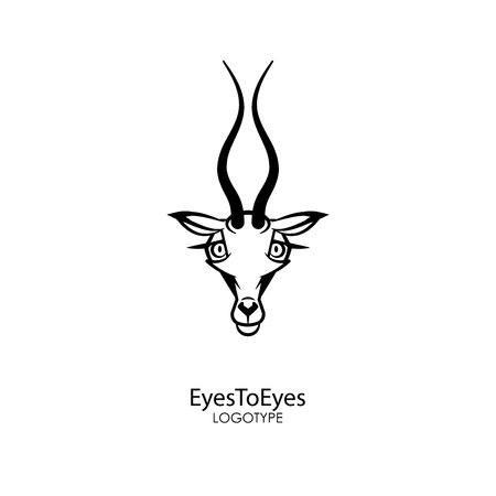 The head of a funny and cute gazelle with an alluring look on a white background. Sticker, pattern, background, wall decoration. Vector illustration. Cartoon character of the southern inhabitant. Eyes
