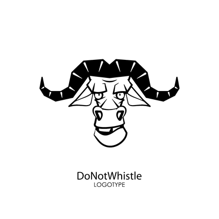 The head of a steep, serious, formidable wild bull on a background. Sticker, pattern, signboard. Vector illustration. Cartoon character of the southern forest dweller. Do not whistle! 向量圖像