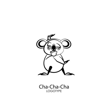 Cartoon character of the Australian inhabitant. Funny koala is standing in the pose of dance and grimaces on a white background. Vector illustration. Let's go to the carnival! Cha Cha Cha! Illustration