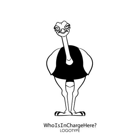 Zeichentrickfigur des südafrikanischen Straußes. Ein lustiger cooler Strauß steht und neigt seinen Kopf, um etwas nachdenklich zu untersuchen. Vektor-Illustration. Wer ist hier zuständig?