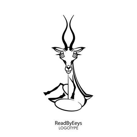Cartoon character of the south and north animals. Funny cute roe deer with twisted horns posing sitting on a white background. Vector illustration. Read by eyes.