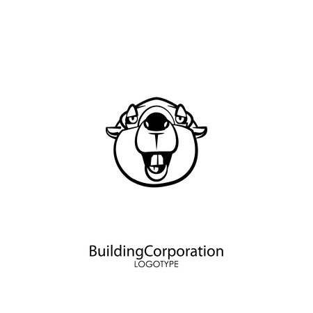 Head of a ridiculously contented laughing beaver against a white background. Sticker, pattern, background, wall decoration. Vector illustration. Cartoon character of a forest animal. Builder.