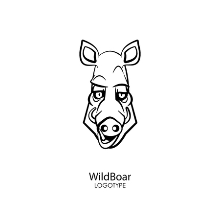 The head of a funny cool boar on a white background. Sticker, pattern, background, wall decoration. Vector illustration. Cartoon character forest dweller and steppe.