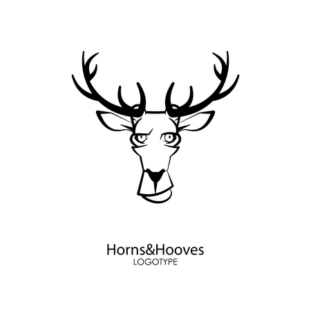 The head of a funny smiling deer on a white background. Sticker, pattern, background, wall decoration. Vector illustration. Cartoon character forest dweller and steppe.