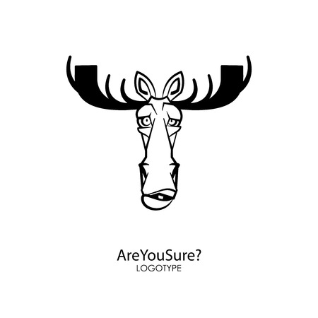 The head of a funny serious moose with big horns. Sticker, pattern, background, decoration. Vector illustration. Cartoon character forest dweller. Are you sure?