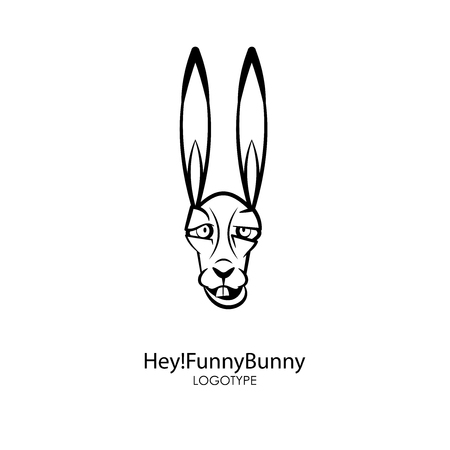 The head of a funny cool long-eared hare on a white background. Sticker, pattern, background, wall decoration. Vector illustration. Cartoon character forest dweller.