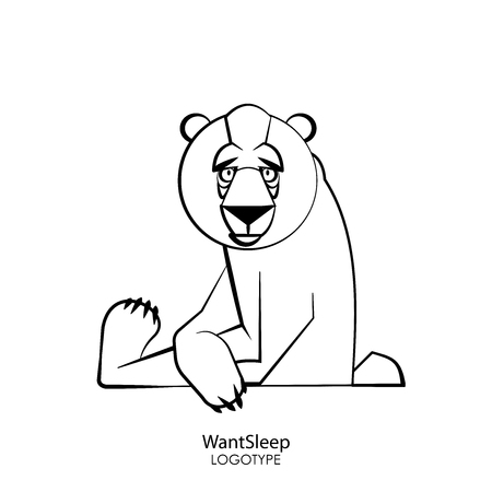 Cartoon character of a forest animal. Funny cool wild bear sits relaxed in a pose on a white background. Vector illustration. The inhabitant of taiga and tundra forests. I want to sleep.
