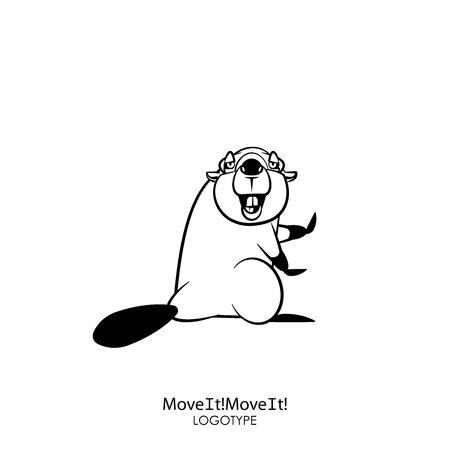 Personnage de dessin animé d'un animal de la forêt. Un castor drôle et cool est debout dans une pose de danse et sourit de tout son long sur un fond blanc. Illustration vectorielle. Danses incendiaires !