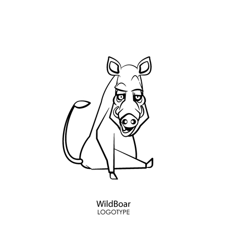 Cartoon character of a forest animal. Funny cool boar sits in a pose and grimaces on a white background. Vector illustration. Wild inhabitant of the forest and steppe.