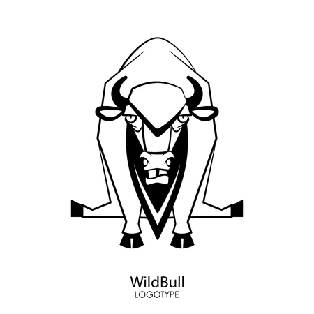Funny cool wild bull grimaces and poses while sitting on a white background. Sticker, logo or template. Vector illustration.