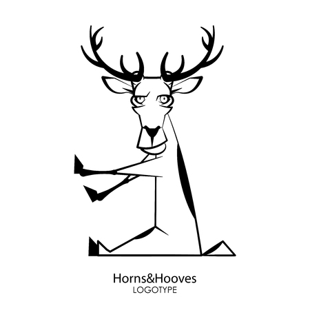 Cartoon character of a forest animal. Funny steep deer sits in a pose and grimaces on a white background. Vector illustration. Wild inhabitant of the forest and steppe. 向量圖像