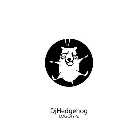 Cartoon animal character. Funny prickly hedgehog spinning on his back on a white background. Vector illustration. Forest dweller dancing breakdance.