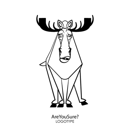 Cartoon character forest dweller. Funny cool elk is standing in a pose and grimaces on a white background. Vector illustration. Are you sure?