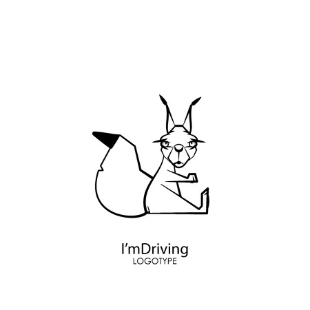 Cartoon character forest dweller. Funny cute squirrel sitting posing on a white background. Vector illustration. Im driving! Snake gas!  イラスト・ベクター素材