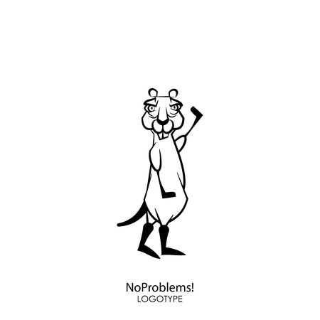 Cartoon character of a forest animal. Funny cool serious gopher with a pair of protruding teeth standing and posing with a raised paw on a background. Vector illustration. Will be done! No problems!