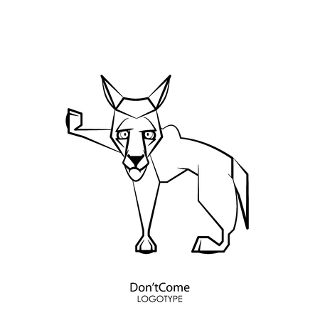 Cartoon character of a forest animal. Funny cool wolf standing posing on a white background. Vector illustration. Do not come, I was offended! Stop!