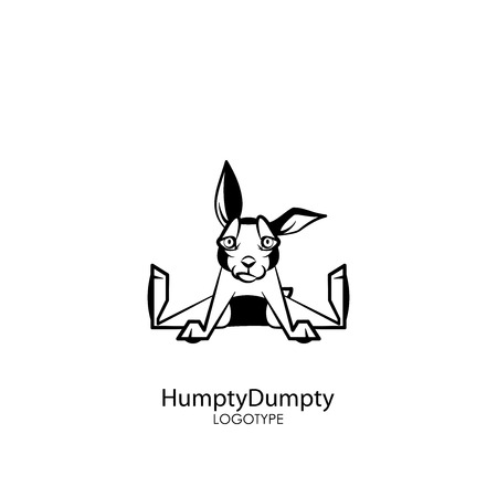 Cartoon character farm or pet. Funny cute rabbit sitting spreading legs and smiling on a white background. Vector illustration. Rabbit posing.
