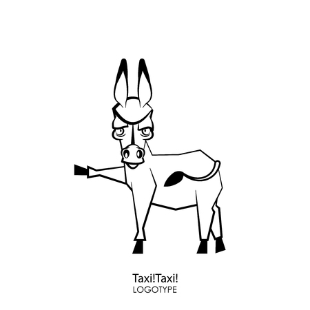 Cartoon character farm animal. A funny, cool, serious donkey stands with one leg up and grimaces against a white background. Vector illustration. Catches a taxi.