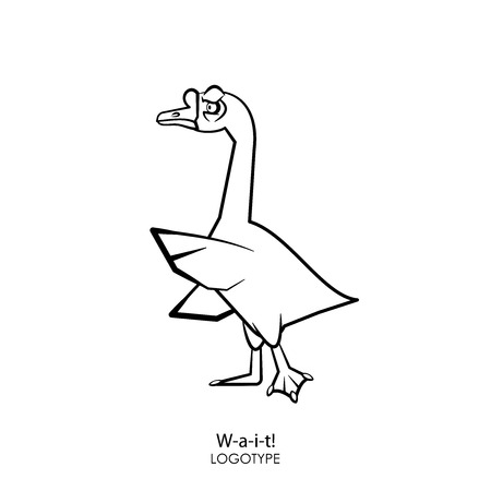 Cartoon character farm bird. Funny cool sad goose standing posing and grimacing. Vector. Feathered raised wing and sees off. Wait! Stop it!
