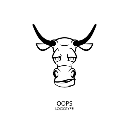 Head of a funny tough bull on a white background. Sticker, pattern, background, wall decoration. Vector illustration. Cartoon character farm animal. Oops!