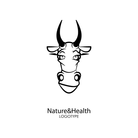 The head of a funny cute dairy cow on a white background. Sticker, pattern, background, decoration wall. Vector illustration. Cartoon character farm animal. Nature and health
