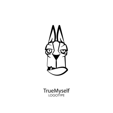 The head of a funny wise dog on a white background. Sticker, pattern, background, wall decoration. Vector illustration. Cartoon character of a pet. True friend, True to myself.