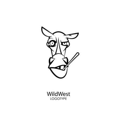 Head of a funny tough horse with a stick and teeth on a white background. Sticker, pattern, background, wall decoration. Vector illustration. Cartoon character farm animal. Welcome!