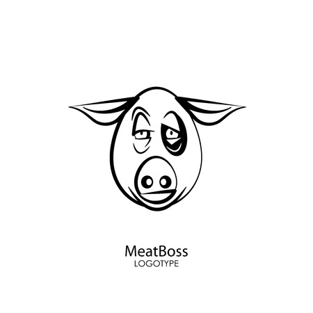 The head of a funny tough pig on a white background. Sticker, pattern, background, wall decoration. Vector illustration. Cartoon character farm animal. Meat Boss. Ilustrace
