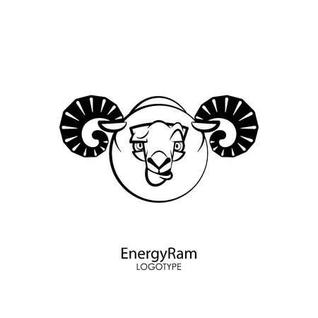 Head of a funny tough ram on a white background. Sticker, pattern, background, wall decoration. Vector illustration. Cartoon character farm animal. The energy of the ram. Ilustrace