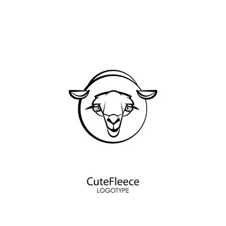 Head of a cute cute lamb on a white background. Sticker, pattern, background, wall decoration. Vector illustration. Cartoon character farm animal. Sheep breeding, fleece and milk. Cute fleece.