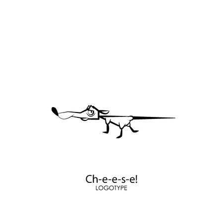 Rodent cartoon character. Funny mouse stopped at the smell of cheese. Vector illustration. House rat sniffed treats