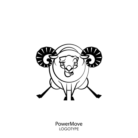 Cartoon character farm animal. Funny cool ram posing on two hooves on a white background. Vector illustration. Fitness fleece. Ilustrace