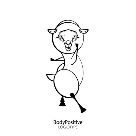 Cartoon character farm animal. Funny cute sheep stands in a pose of dance on a white background. Vector illustration. Fitness fleece. Body positive. Ilustrace