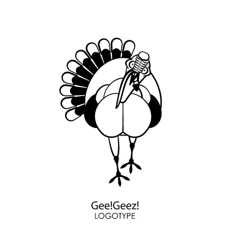 Cartoon character farm bird. A funny cool turkey stands and tilts his head to grimace with his beak open against a white background. Vector illustration. Gee!Geez! Ilustrace