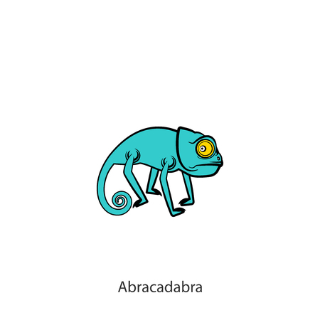 Cartoon character of a southern lizard. Funny cool wary chameleon is posing on a background. Vector illustration. Who is there? The inhabitant of Africa, Madagascar, India, Sri Lanka and others. Abracadabra. Ilustração
