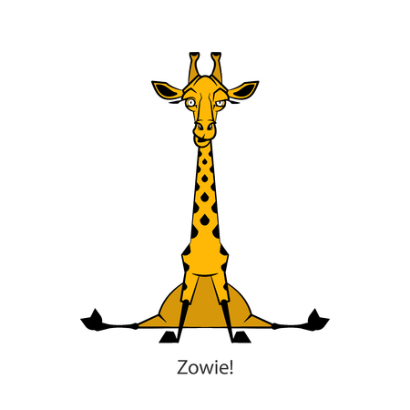 Cartoon character of an African south animal. Funny funny cool giraffe sitting in emotions. Vector. A long spotted animal poses and grimaces. Conceptual.