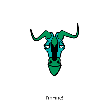 Cartoon character grimaces. The head of a funny cool antelope. Vector. I'm fine! All is well!