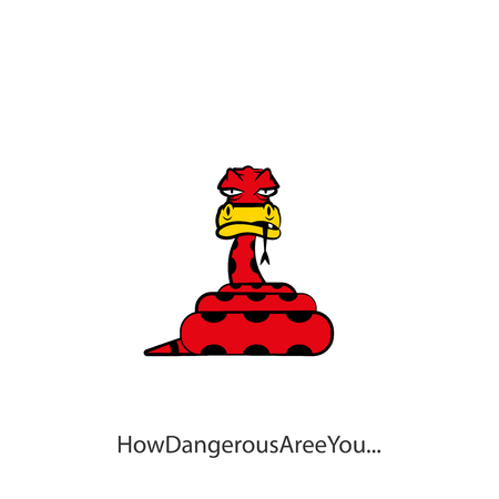Cartoon reptile character. Funny suspicious sly python curled up with a ball poses with his tongue hanging out. Vector illustration. Spotted snake. Conceptual. How dangerous are you! Sarcasm.