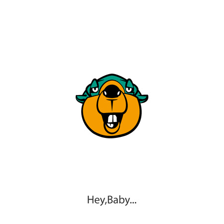 Head of a ridiculously contented laughing beaver against a white background. Sticker, pattern, background. Vector illustration. Cartoon character of a forest animal. Major and Lovelace. Flirt.