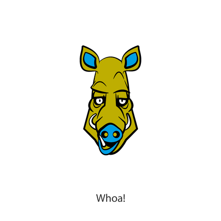The head of a funny cool boar on a white background. Sticker, pattern, background, wall decoration. Vector illustration. Cartoon character forest dweller and steppe. Whoa! Ilustrace