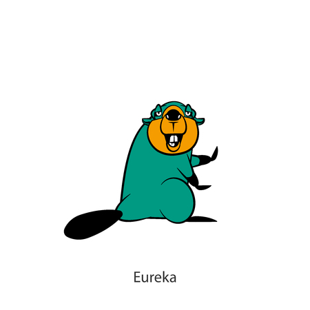 Cartoon character of a forest animal. A funny cool funny beaver is standing in a pose of dance and is smiling full-length on a white background. Vector illustration. Incendiary dances! Eureka!  イラスト・ベクター素材