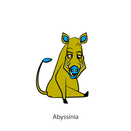 Cartoon character of a forest animal. Funny cool boar sits in a pose and grimaces. Vector illustration. Wild inhabitant of the forest and steppe. Ill be seeing you! Abyssinia!