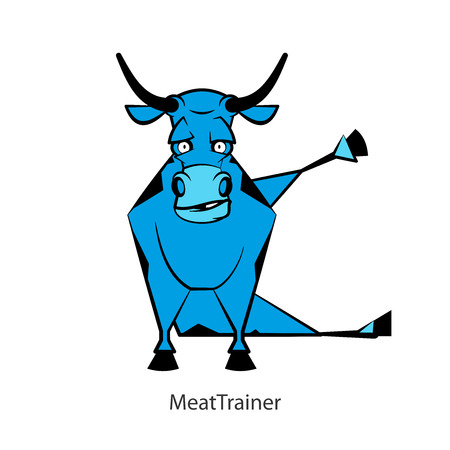 Cartoon character farm animal. Funny cool bull posing on the morning exercises on a white background. Vector illustration. Fitness meat. Meat trainer.