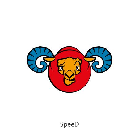 Head of a funny tough ram on a white background. Sticker, pattern, background, wall decoration. Vector illustration. Cartoon character farm animal. The energy of the ram. Speed. Speedly. Ilustrace